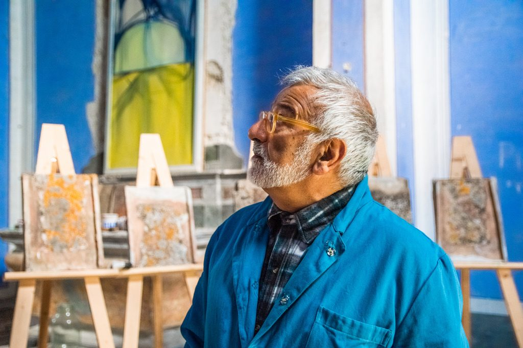 Enzo Scuderi in his studio, a former church in rural Tuscany