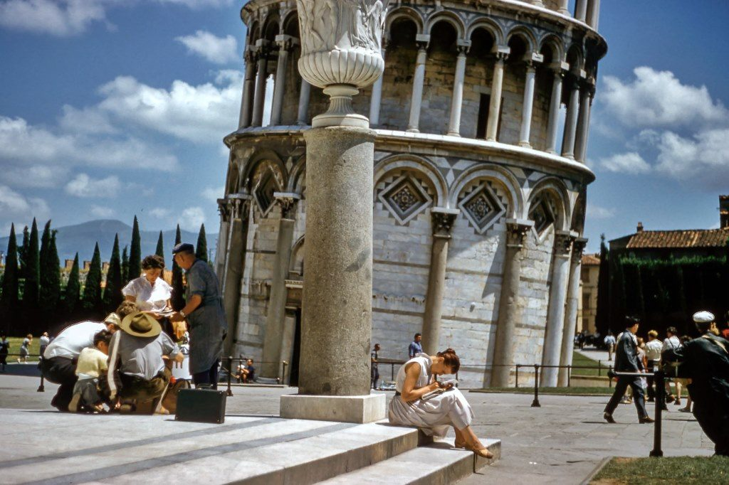 Vintage travel photo, tower of Pisa