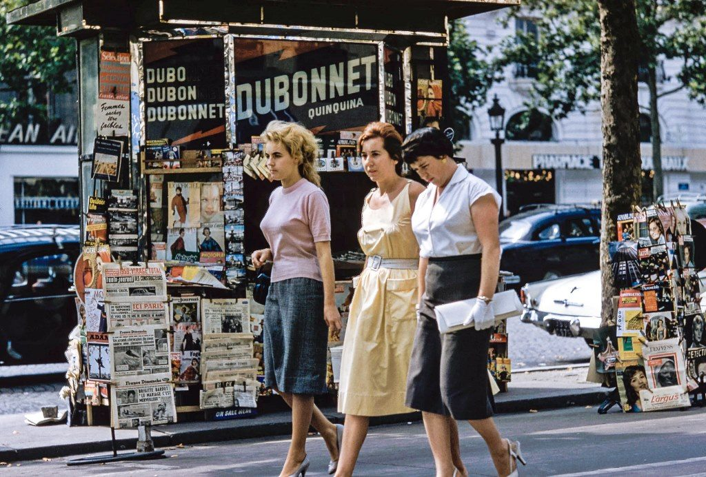 Three ladies walking on the street in France (vintage photo)