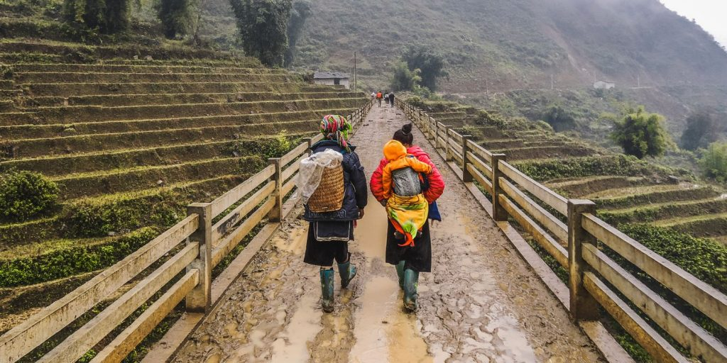 Trekking in Sa Pa, Vietnam with local H'mong women