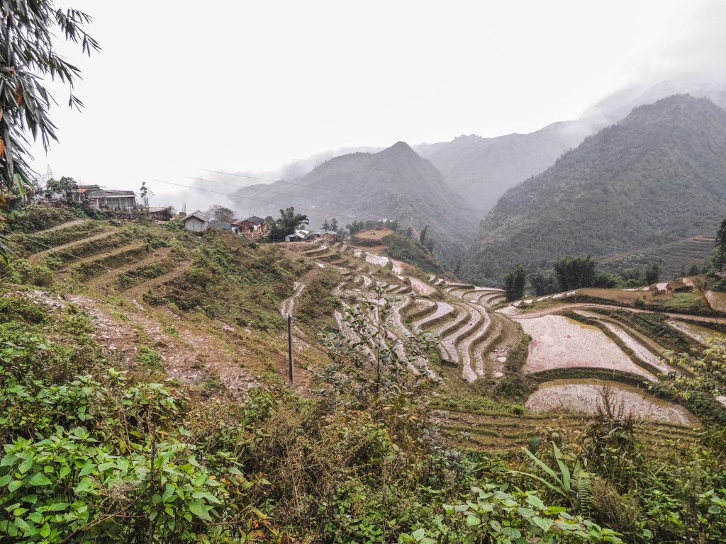 The rice terraces and rainy landscape in Sa Pa, Vietnam