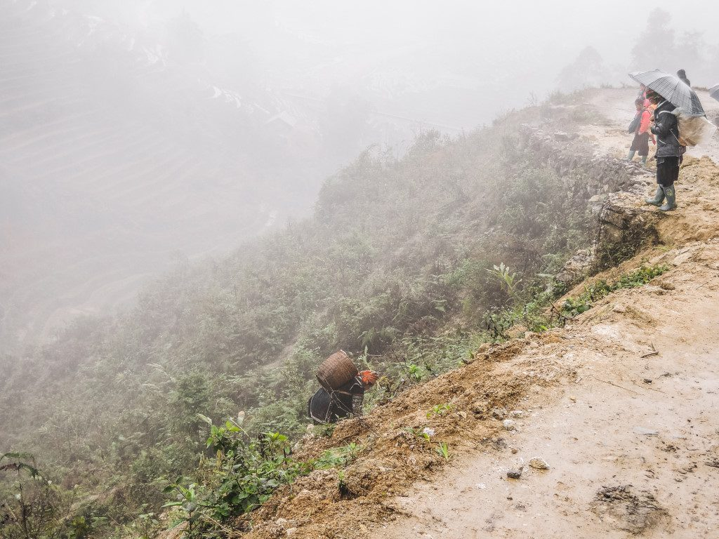 A foggy day while trekking in the mountains of Sa Pa, Vietnam