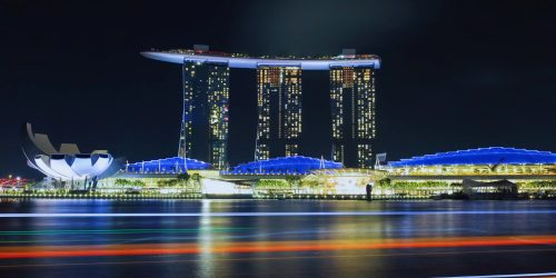 View of Marina Bay in Singapore by night