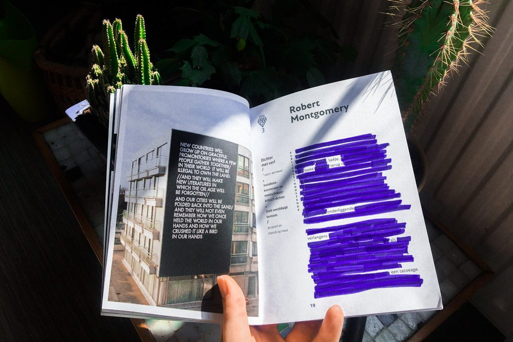 Practice creativity by creating blackout poems like this (an illustrated book with purple markings)
