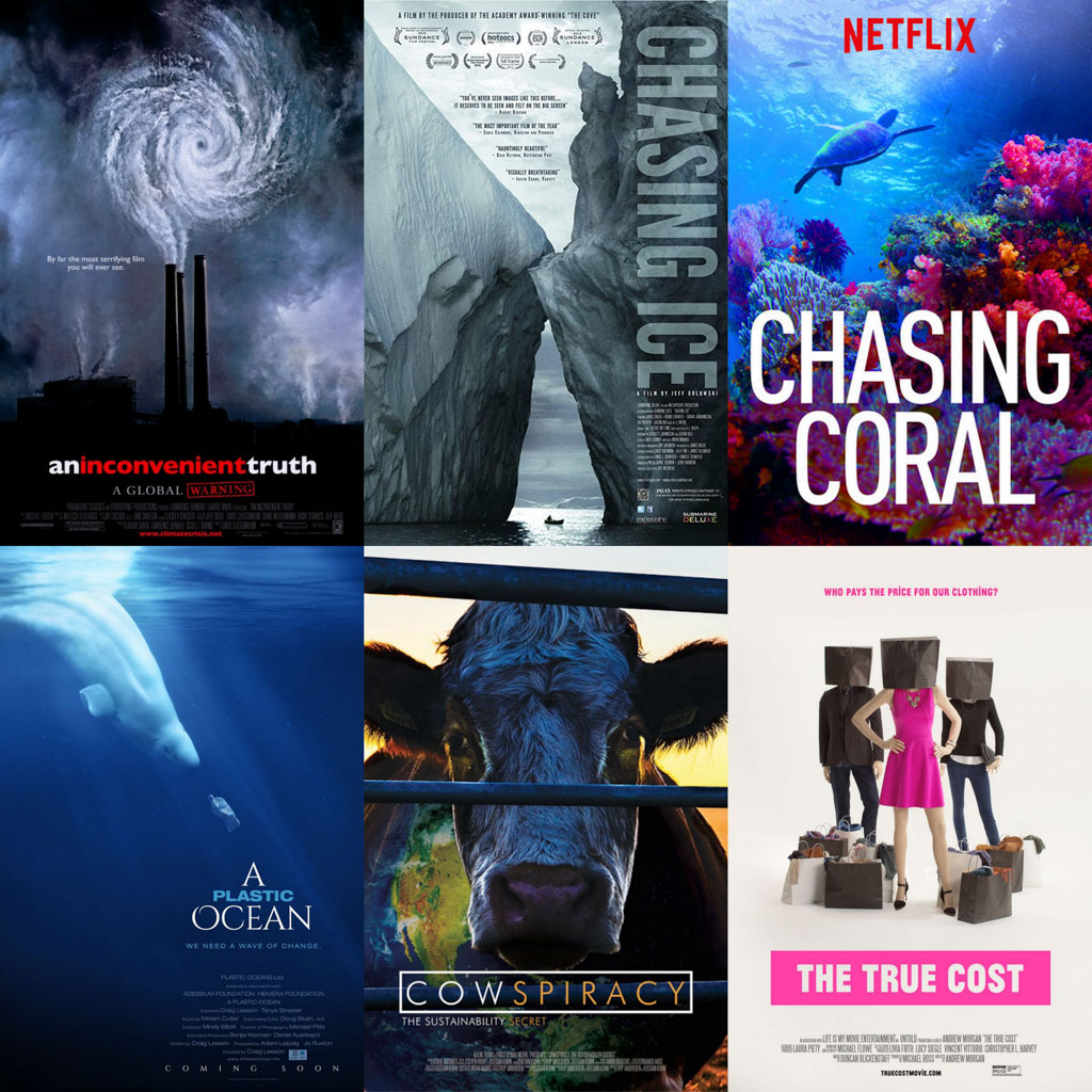 A collage of six different documentaries that we mention in the article