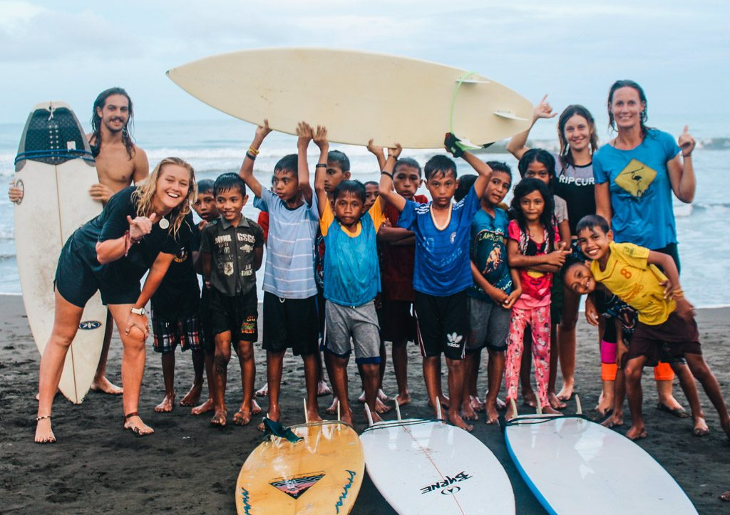 A liquid future team with Indonesian local kids
