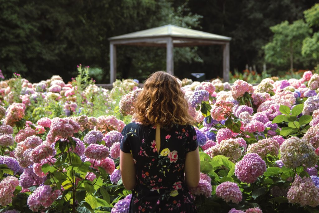 A girl admires flowers in a park, a good way to combat plant blindness